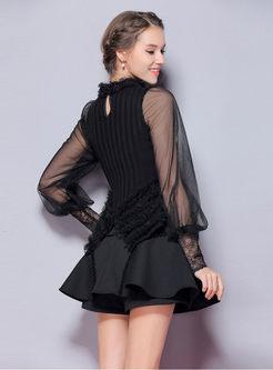 Mesh Lantern Sleeve Beaded Asymmetric Hem Knitted Sweater