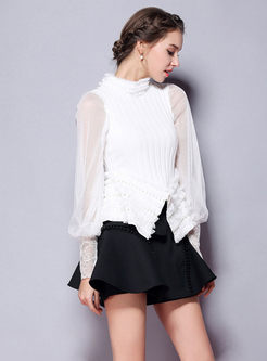 Mesh Lantern Sleeve Beaded Asymmetric Hem Knitted Sweater