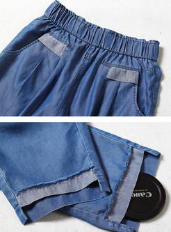 Summer Asymmetric Hem Three Quarters Jeans
