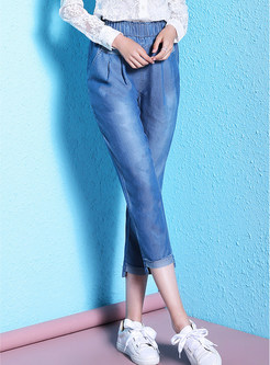 Summer Asymmetric Hem Three Quarters Jeans