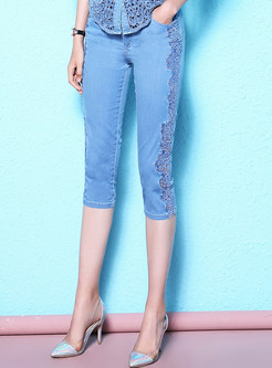Summer Plus Size Lace Stitching Jeans