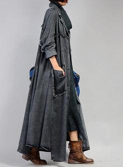 d8efd6b172d75 ... Black Plus Size Distressed Denim Trench Coat ...