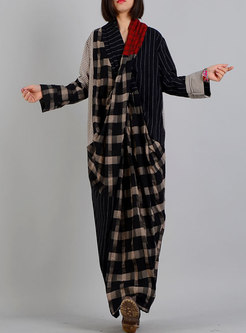 V-neck Plaid Patchwork Maxi Dress