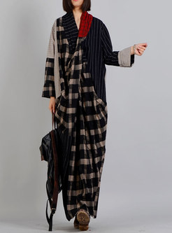 Fashionable Slit V-neck Plaid Splicing Mermaid Dress