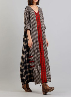 Ethnic Plaid Splicing Vintage Maxi Dress