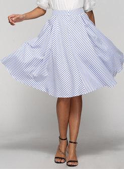 Blue Pinstriped Big Hem Midi Skirt