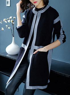 Color-blocked O-neck Pocket Knitted Coat