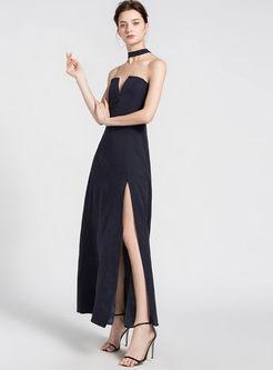 Sexy Slash Neck Slit Maxi Dress