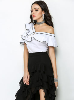 Sexy Slash Neck Falbala Slim Blouse