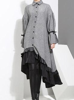 Stylish Long Sleeve Irregular T-Shirt Dress