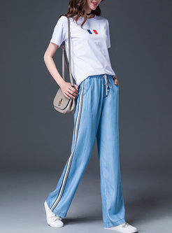 Trendy Striped Splicing Tied Wide Leg Pants