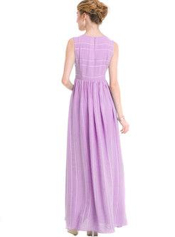 O-neck Sleeveless Striped Gathered Waist Chiffon Dress
