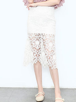 Sexy See Though Lace Sheath Skirt