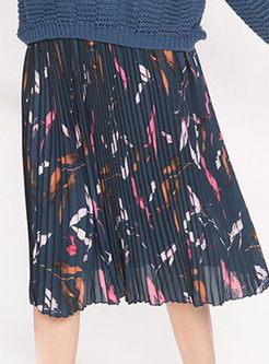 Sweet Print Elastic Waist Pleated Skirt