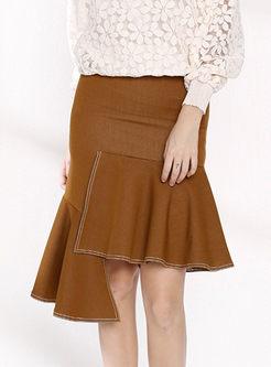 Stylish Zipped Asymmetric Hem Slim Denim Skirt