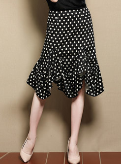 Black Dots High-Rise Asymmetric Mermaid Skirt