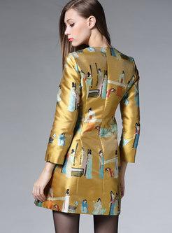 V-neck Long Sleeve Print Skinny Skater Dress