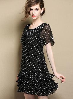 Black O-neck Polka Dots Skater Cake Dress