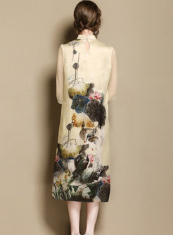 Stand Collar Improved Cheongsam Loose Dress