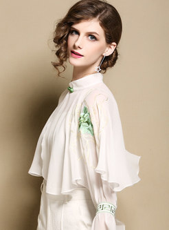 Fashion Embroidered Stand Collar Perspective Top
