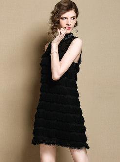 Black Stand Collar Sleeveless Cake Dress