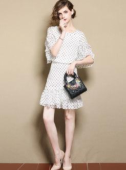Monochrome Dots T-Shirt & Slim Mini Skirt