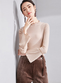 Pleated Flare Sleeve Splicing Slim Knitted Sweater