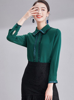 Rough Hem Splicing Lapel Long Sleeve Blouse