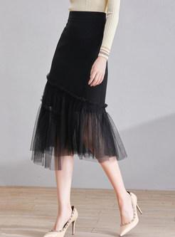 Chic Irregular Hem Mesh Skirt