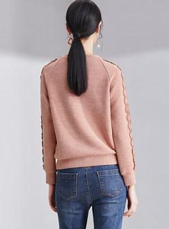 Solid Color O-neck Loose Sweatshirt