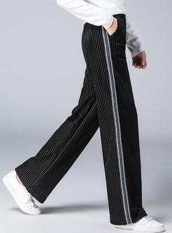 Autumn Elastic Waist Pocket Wide Leg Pants