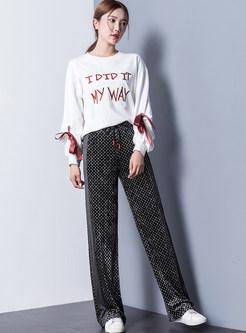 Fashionable Tied Elastic Waist Print Long Pants