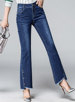 Stylish Asymmetric Rough Hem Flare Pants
