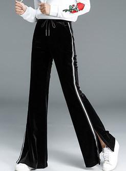 Tied Elastic Waist Slit Flare Long Pants