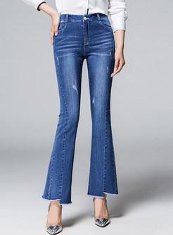 High Waist Rough Hem Slim Flare Long Pants