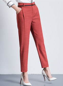 Solid Color Pocket Slim Harem Ninth Pants
