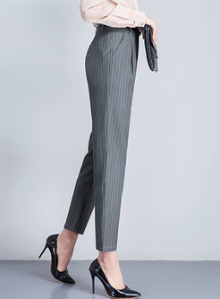 Fashionable Striped High Waist Slim Harem Pants