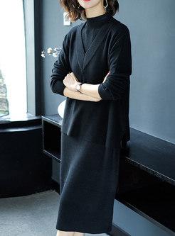 High Neck Monochrome Knitted Dress & V-neck Loose Vest