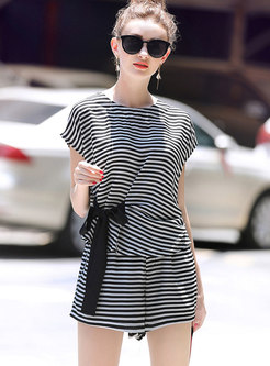 Stylish Striped Belted Blouse & Shorts