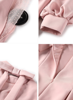 Stand Collar Lantern Sleeve Bowknot Slim Dress