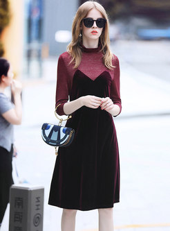 Autumn Three Quarters Sleeve Contrast-color Dress
