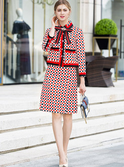 Casual Lapel Bowknot Plaid Two Piece Outfits