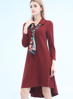 Fashion Wine Red Single-breasted Knitting Dress