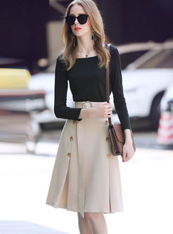 Black Long Sleeve T-Shirt & Belted Double-breasted Skirt
