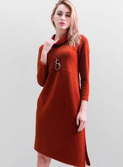 eaa9c33f820b High Neck Asymmetric Knitting Loose Dress ...
