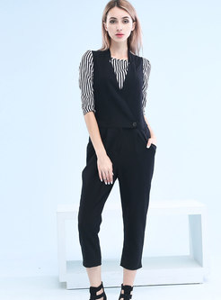 Stylish Black Straight Striped Jumpsuit