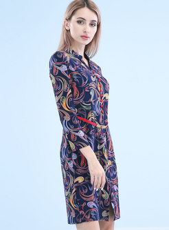 Stand Collar All Over Print Sheath Dress