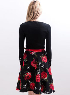 Chic Black Knitted Top & Print Midi Skirt