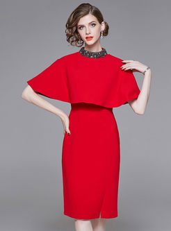Red Sleeveless Bodycon Dress With Cape