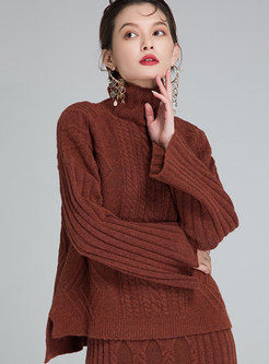 Brief High Neck Wool Knitted Sweater